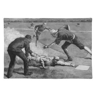 Vintage Sports Antique Baseball in Black and White Placemat