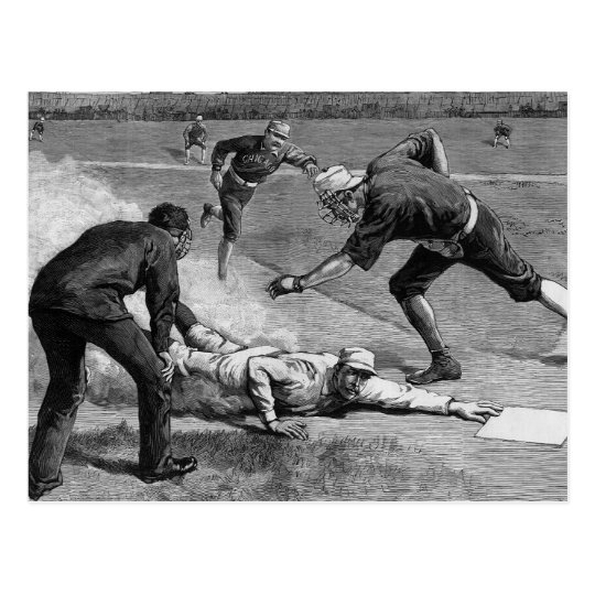 Vintage Sports Antique Baseball in Black and White Postcard