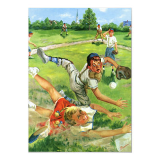 Vintage Sports Baseball Boy or Girl Birthday Party Card