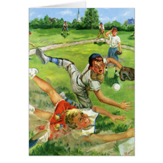 Vintage Sports Baseball, Children Teams Playing Card