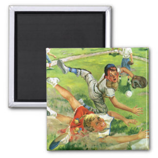 Vintage Sports Baseball, Children Teams Playing Magnet