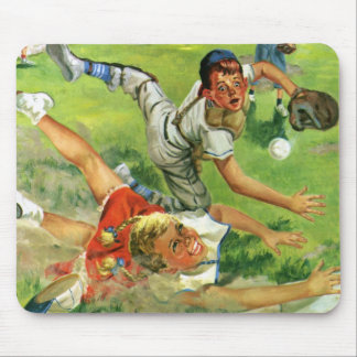 Vintage Sports Baseball, Children Teams Playing Mouse Pads