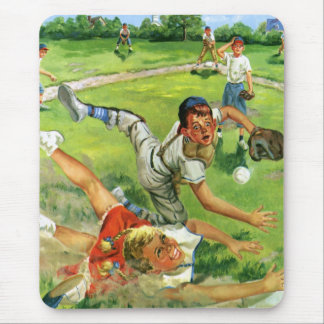 Vintage Sports Baseball, Children Teams Playing Mousepads