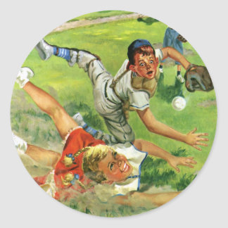 Vintage Sports Baseball Children Teams Playing Round Stickers