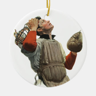 Vintage Sports Baseball, Confused Catcher Look Up Ceramic Ornament