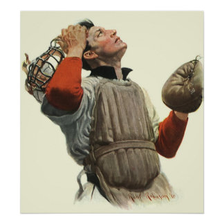 Vintage Sports Baseball, Confused Catcher Look Up Poster