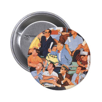 Vintage Sports Baseball Fans Watching a Game Buttons