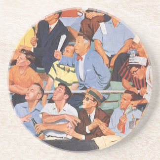 Vintage Sports Baseball Fans Watching a Game Coasters
