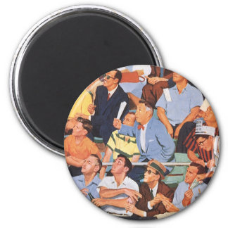 Vintage Sports Baseball Fans Watching a Game 2 Inch Round Magnet