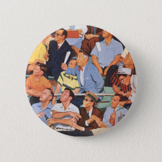 Vintage Sports Baseball Fans Watching a Game Pinback Button