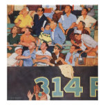 Vintage Sports Baseball Fans Watching a Game Poster