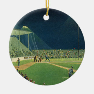 Vintage Sports, Baseball Game at Night Ceramic Ornament