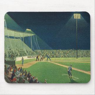 Vintage Sports, Baseball Game at Night Mouse Pad