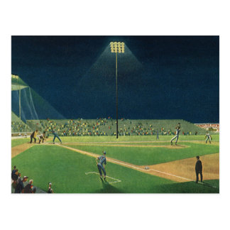 Vintage Sports, Baseball Game at Night Postcard