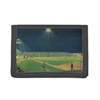Vintage Sports, Baseball Game at Night Trifold Wallet