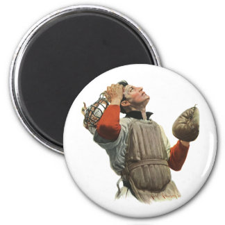 Vintage Sports Baseball Player, Catcher Look Up 2 Inch Round Magnet