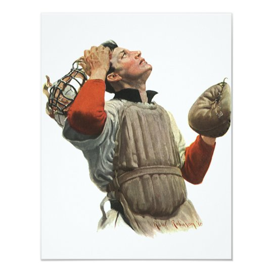 Vintage Sports Baseball Player, Catcher Look Up Card