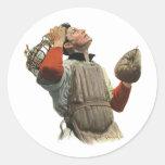Vintage Sports Baseball Player, Catcher Look Up Classic Round Sticker