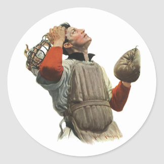Vintage Sports Baseball Player, Catcher Look Up Classic Round Sticker