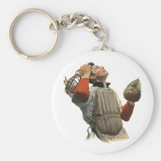 Vintage Sports Baseball Player, Catcher Look Up Keychain