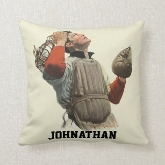 Vintage Sports Baseball Player, Catcher Look Up Throw Pillow
