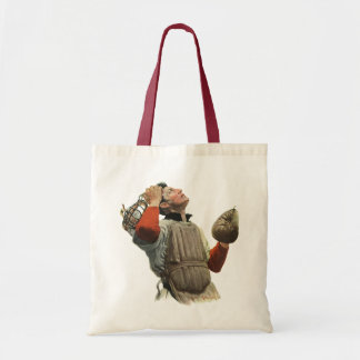 Vintage Sports Baseball Player, Catcher Look Up Tote Bag