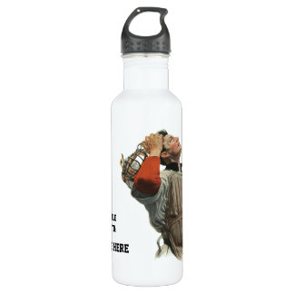 Vintage Sports Baseball Player, Catcher Look Up Water Bottle