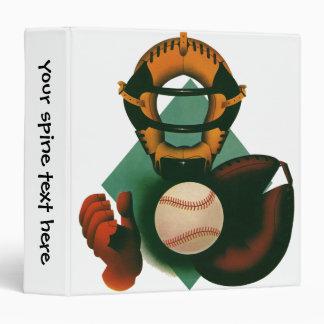 Vintage Sports, Baseball Player, Catcher with Mitt 3 Ring Binder
