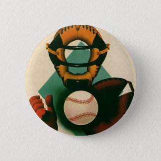 Vintage Sports Baseball Player, Catcher with Mitt Button