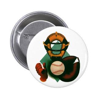 Vintage Sports, Baseball Player, Catcher with Mitt Button