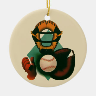 Vintage Sports, Baseball Player, Catcher with Mitt Ceramic Ornament