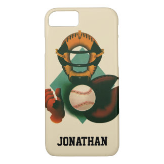 Vintage Sports, Baseball Player, Catcher with Mitt iPhone 8/7 Case
