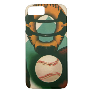 Vintage Sports Baseball Player, Catcher with Mitt iPhone 8/7 Case
