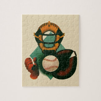Vintage Sports, Baseball Player, Catcher with Mitt Jigsaw Puzzle