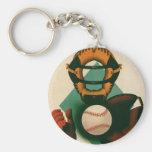 Vintage Sports, Baseball Player, Catcher with Mitt Basic Round Button Keychain
