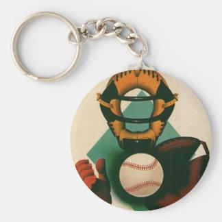 Vintage Sports Baseball Player, Catcher with Mitt Keychain