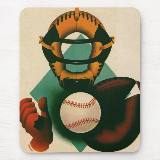 Vintage Sports Baseball Player, Catcher with Mitt Mouse Pad
