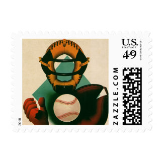 Vintage Sports Baseball Player, Catcher with Mitt Postage Stamp