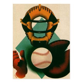 Vintage Sports Baseball Player, Catcher with Mitt Postcard