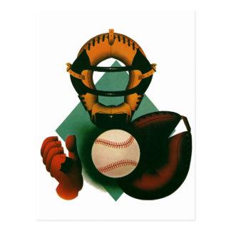 Vintage Sports, Baseball Player, Catcher with Mitt Postcard