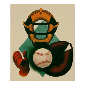 Vintage Sports, Baseball Player, Catcher with Mitt Poster
