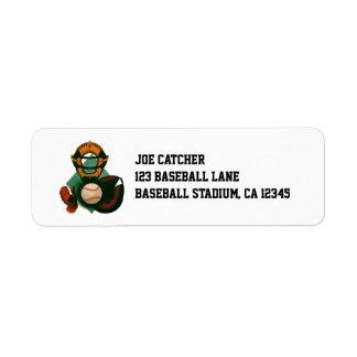 Vintage Sports, Baseball Player, Catcher with Mitt Return Address Label