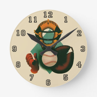 Vintage Sports, Baseball Player, Catcher with Mitt Round Clock