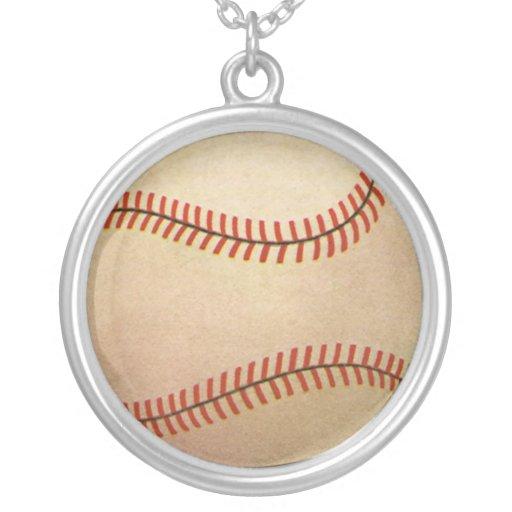 Vintage Sports, Baseball Player, Catcher with Mitt Round Pendant Necklace