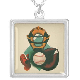 Vintage Sports, Baseball Player, Catcher with Mitt Silver Plated Necklace