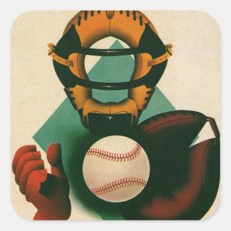 Vintage Sports, Baseball Player, Catcher with Mitt Square Sticker