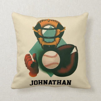 Vintage Sports, Baseball Player, Catcher with Mitt Throw Pillow