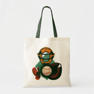 Vintage Sports, Baseball Player, Catcher with Mitt Tote Bag