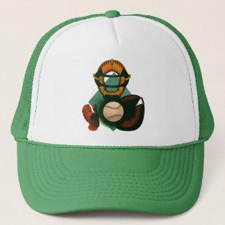 Vintage Sports, Baseball Player, Catcher with Mitt Trucker Hat