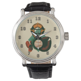 Vintage Sports, Baseball Player, Catcher with Mitt Wristwatch